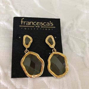 Gold and clear earrings